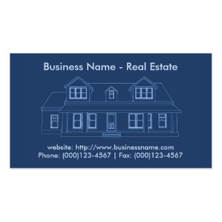 Real Estate Business Card: House Blueprint Pack Of Standard Business Cards