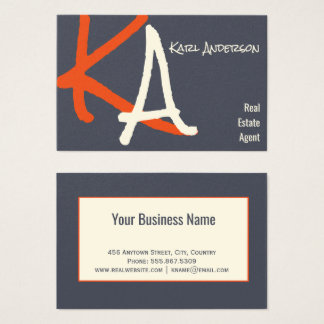 Real Estate Charcoal Indigo Smoke Monogram Trendy Business Card
