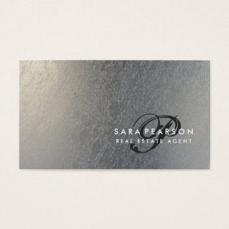 Real Estate Elegant Script Monogram SilverTexture Business Card