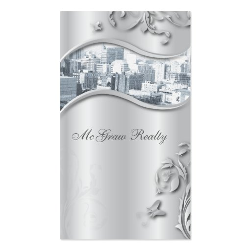 Real Estate Elegant Stylish Business Card Silver