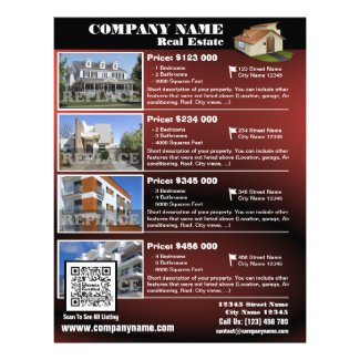 Real Estate – Glossy QR code flyer – Red (QR450)
