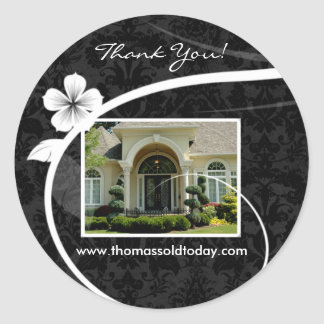 Real Estate Home Sticker Thank You Black Damask