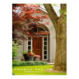 Real Estate House Home Entrance Wood Door Real Est Postcard
