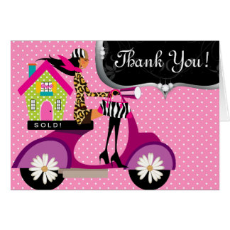 Real Estate House Scooter Girl Dots Thank You 3 Card