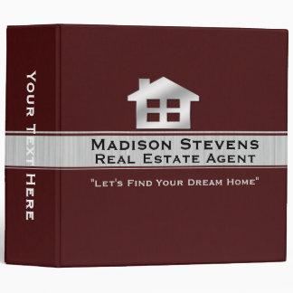"Real Estate Maroon Silver Binder 2"""