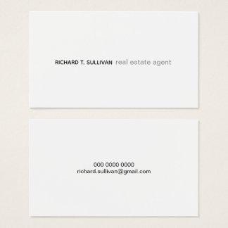 real estate minimalist white modern prof. business card