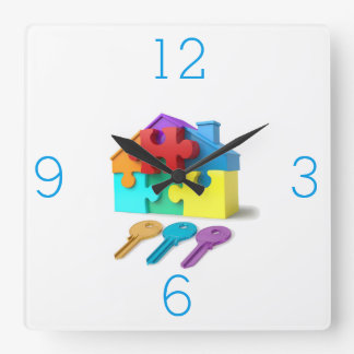 Real Estate, Realtor, estate agent, New Home Square Wall Clock