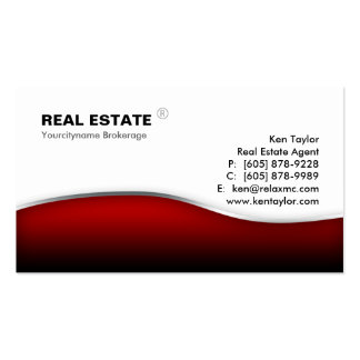 Real Estate Red Wave Modern Metal Business Cards