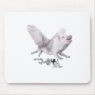 Real Flying Pig Popular Gift When Pigs Fly w Wings Mouse Pad