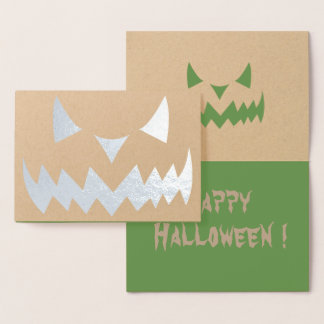 Real Foil Halloween Jack-o-lantern Pumpkin Card