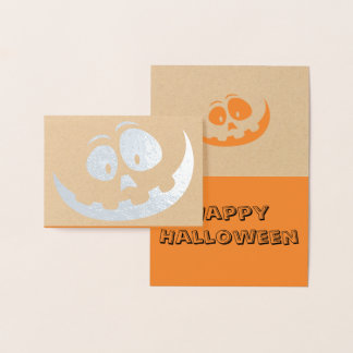 Real Foil Jack-o-lantern Halloween Pumpkin Card