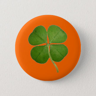Real Four Leaf Clover 2 Inch Round Button