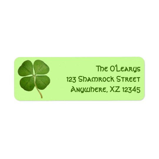 Real Four Leaf Clover Return Address Label