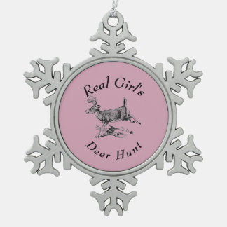 Real Girl's Deer Hunt Snowflake Pewter Christmas Ornament