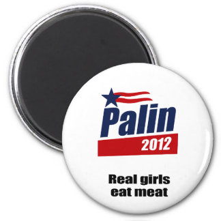 Real girls eat meat 2 inch round magnet