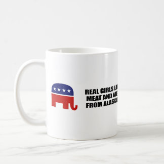 REAL GIRLS EAT MEAT AND ARE FROM ALASKA BASIC WHITE MUG