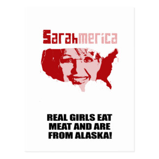 REAL GIRLS EAT MEAT AND ARE FROM ALASKA POSTCARDS