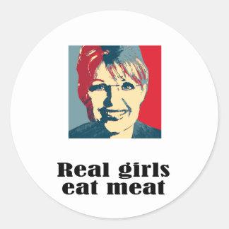 Real girls eat meat round sticker
