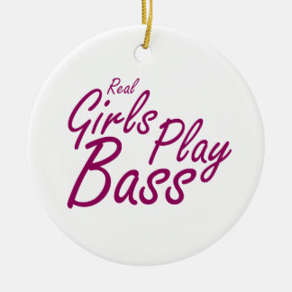 Real Girls Play Bass 2 purple Round Ceramic Ornament