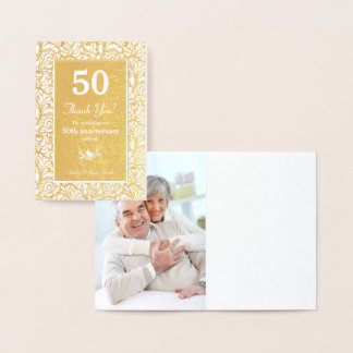 Real Gold Foil 50th Anniversary Photo Thank you Foil Card