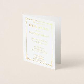 Real Gold Foil Art Deco Bridal Shower Invites