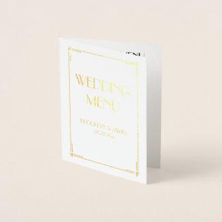 Real Gold Foil Art Deco Wedding Menu