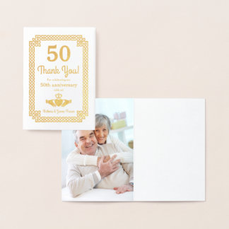Real Gold Foil Celtic 50th Anniversary Thank You Foil Card