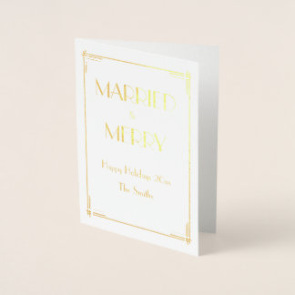 Real Gold Foil Christmas Card Married And Merry