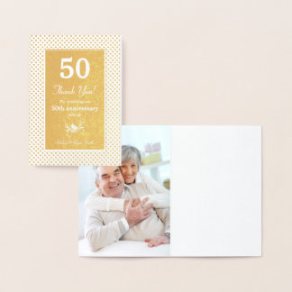 Real Gold Foil Dots 50th Anniversary Thank You Foil Card