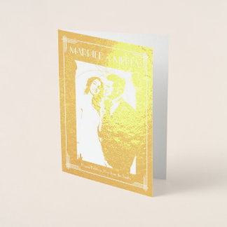 Real Gold Foil Married And Merry Christmas Card