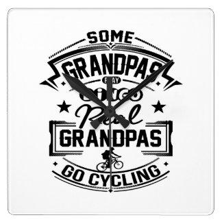 Real Grandpas Go cycling Square Wall Clock