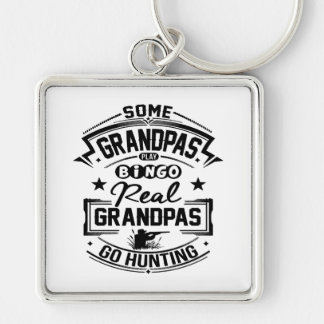 Real Grandpas Go Hunting Silver-Colored Square Keychain