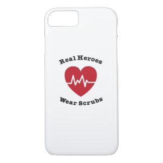 Real Heroes Wear Scrub Funny Nursing Nurse Gift iPhone 8/7 Case