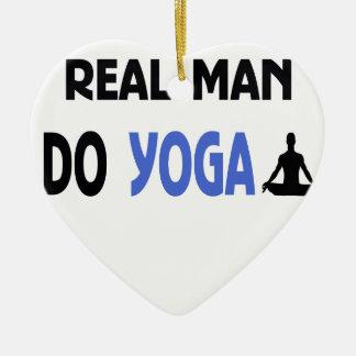 real man do yoga ceramic ornament