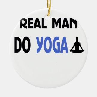 real man do yoga round ceramic ornament