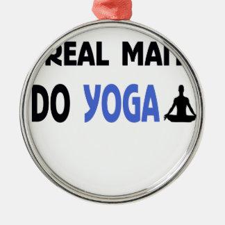 real man do yoga Silver-Colored round ornament
