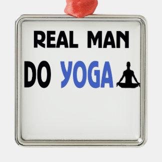 real man do yoga Silver-Colored square ornament