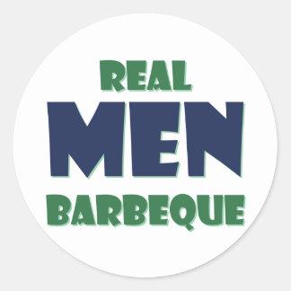 Real Men Barbeque Round Sticker