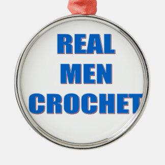 Real Men Crochet Metal Ornament