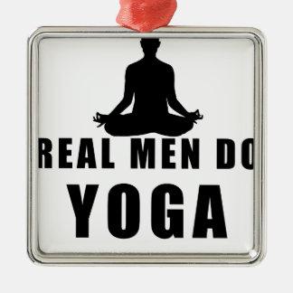 real men do yoga metal ornament