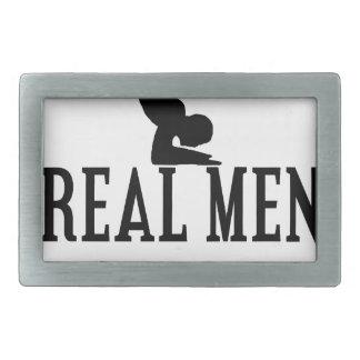 Real Men Do Yoga Rectangular Belt Buckles