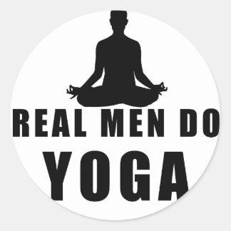 real men do yoga round sticker