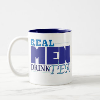 Real Men Drink Tea (blue) Two-Tone Coffee Mug