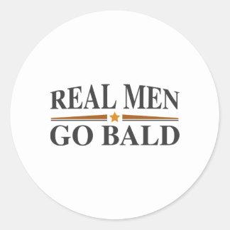 Real Men Go Bald Round Sticker