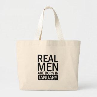 Real Men January Large Tote Bag