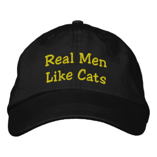Real Men Like Cats Embroidered Hat