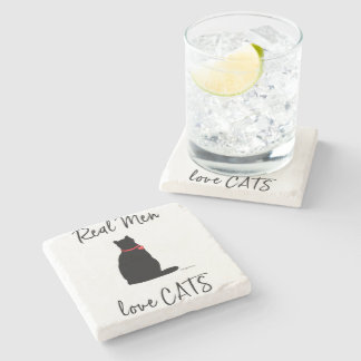 Real-Men-love-Cats, Graphic Cool Stone Coaster