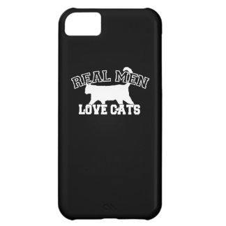 Real Men Love Cats on black background Case For iPhone 5C