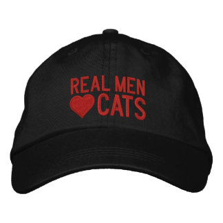 Real Men Love Cats Red Embroidered Hat