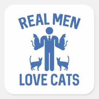 Real Men Love Cats Square Sticker